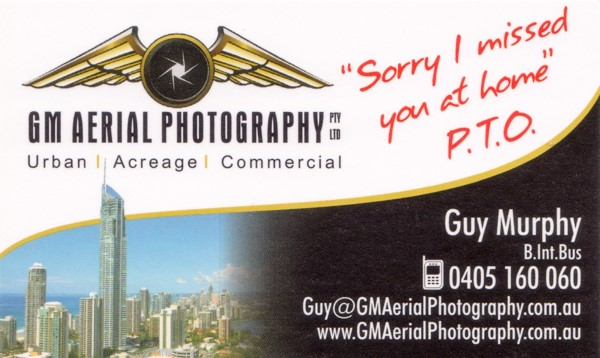 GM Aerial Photography Business Card Front